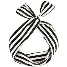 TdZ Retro Top Tie Bow Wired Headband - Stripe Print (Black & White) at... (10 CAD) ❤ liked on Polyvore featuring accessories, hair accessories, hair bands accessories, hair bow accessories, wire headband, tie headbands and head wrap headband