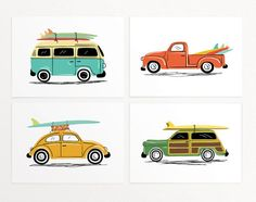 "Surf Trip Wall Art Print Set - 4 Prints - vintage cars' illustrations with surf boards - VW Van, Beetle, Truck  - Unframed 7""x5"" or 10""x8"""