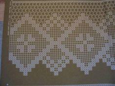 1 single spider motif between 2 of the diamonds Filet Crochet, Crochet Lace Edging, Crochet Leaves, Crochet Borders, Crochet Doilies, Crochet Stitches, Diy Crafts Knitting, Diy Crafts Crochet, Crochet Projects