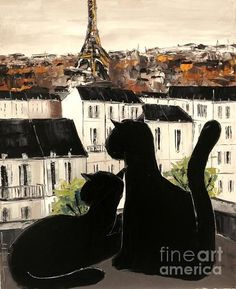 Ꮳαɬ αʀɬ (Black Cats On Paris Roofs by Atelier De Jiel)