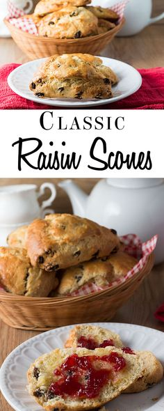 This classic British recipe for Raisin Scones are fantastic straight from the oven or split and toasted the next day. Read Recipe by errenskitchen Brunch Recipes, Sweet Recipes, Breakfast Recipes, Dessert Recipes, Breakfast Pastries, Desserts, British Scones, Raisin Scones, Raisin Recipes