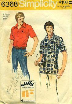 Simplicity 6368 Men's Jiffy Shirt c. 1974 EXTRA LARGE 46 - 48