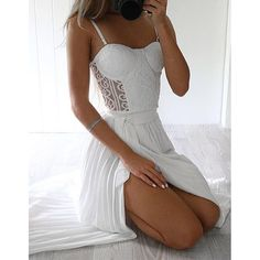 White Lace Top Split Sexy See Through Long Beach Prom Dresses, PM0227