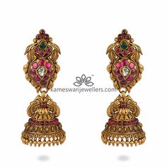 Mesmerizing collection of gold earrings from Kameswari Jewellers. Shop for designer gold earrings, traditional diamond earrings and bridal earrings collections online. Kids Gold Jewellery, Gold Wedding Jewelry, Trendy Jewelry, Modern Jewelry, Gold Jewelry, Unique Jewelry, India Jewelry, Jewelry Shop, Cartier Jewelry