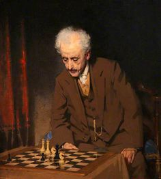 The Chess Problem by John MacDonald Aiken, oil on canvas 113 X cm Aberdeen Art Gallery, Glasgow Museum, Play Therapy Techniques, Art Through The Ages, How To Play Chess, Russian Painting, Black Sails, Art Uk, Chess Pieces