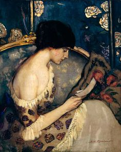 Australian Painter Agnes Noyes Goodsir (1864-1939),a letter from the front(girl on couch),1915