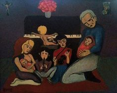 """""""Dorian Family"""" 1997 by Family Psychology, Blue Moon, Expressionism, Figurative, My Drawings, Painting & Drawing, Oil On Canvas, Religion, Family Guy"""