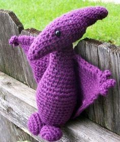 Ravelry: Pterry Pterodactyl pattern by Breanna Steidley Crochet Dinosaur, Crochet Dragon, Cute Dinosaur, Crochet Animals, Crochet Toys, Crochet Baby, Amigurumi Patterns, Knitting Patterns, Crochet Patterns