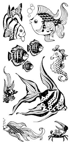 Inkadinkado Clear Stamp  Fish & Friends by RememberingTuesday, $6.95