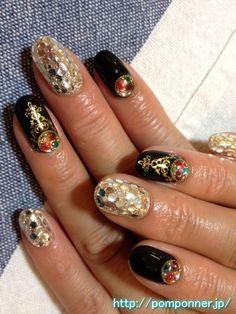 Solid paint and black glitter nail