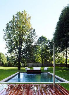 Novogratz summer home swimming pool.  I love the deck/dock and the grass.
