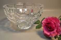 Mid Century Modern Hand Cut Crystal Bowl Signed Orrefors '59 Swedish Art Glass #ORREFORS