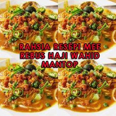 RAHSIA RESEPI MEE REBUS HAJI WAHID MANTOP ============================ BAHAN-BAHAN MEE REBUS : [✔]. 2 kilo mee kuning, dicelur [✔] ... Malaysian Cuisine, Malaysian Food, Spicy Dishes, Savoury Dishes, Indian Food Recipes, Asian Recipes, Mee Rebus, Yummy Noodles, Rice Noodles