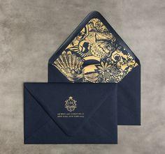 Bliss Bone : monogram, envelope liner, navy and gold