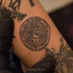 Tattoo of a sassanid coin with the face of emperor khosrow parviz . his life was just like a mythical story . I suggest you all to read about him , the last great king of persian empire ➕ Calligraphy Tattoo, Persian Calligraphy, Persian Tattoo, Empire Tattoo, Sassanid, Great King, Emperor, Tatting, Tattoo Ideas