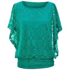 Teal Green Lace Overlay Dolman Sleeve Feminine Top ($15) ❤ liked on Polyvore featuring tops, teal, loose fitting tops, loose tops, long lace top, lace overlay top and bateau neck tops