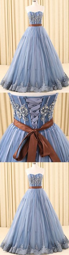 A-line Sweetheart Floor-Length Tulle Ink Blue Prom Dresses With Rhine Stones M1252#prom #promdress #promdresses #longpromdress #promgowns #promgown #2018style #newfashion #newstyles #2018newprom #eveninggown #sweetheartneck #bluepromdress #rhinestone #tulle #homecominghairstyles
