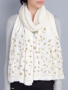 Ivory Cashmere Wool Aari and Cutdana Hand Embellished Stole write to us at hello Reuse Old Clothes, Embroidery Scarf, Kurta Patterns, Modest Fashion Hijab, Kashmiri Shawls, Fashion Drawing Dresses, Ways To Wear A Scarf, Scarf Design, Cashmere Wool