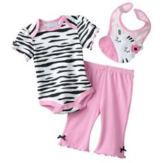 Baby by Bon Bebe Zebra Turn-Me-'Round Bodysuit Set (0-3 Months) - Zebra from Baby by Bon Bebe. Featuring a Zebra pattern, this girls' bodysuit, pants and bib set looks adorable on her. Three cute pieces in one set for cute playtime fun! In Pink/White/Black. - Pant Sets - Apparel - $30.00