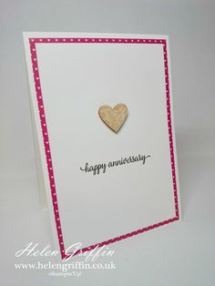 Tutorial | Clean & Simple Card & Handy Hints – Helen Griffin Wedding Shower Cards, Wedding Cards, Anniversary Cards, Wedding Anniversary, Engagement Cards, Heart Cards, Valentine Heart, Place Card Holders, Card Ideas