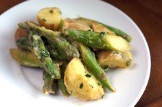 potato asparagus salad plate