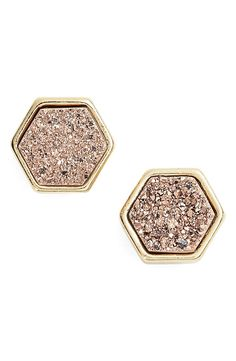 Hexagonal studs are distinguished by sparkling drusy stones and plated in 18-karat gold.