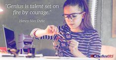 """Genius is talent set on fire by courage"" -Henry Van Dyke Career Quotes, Wednesday Wisdom, Van, Fire, Learning, Studying, Teaching, Vans, Onderwijs"