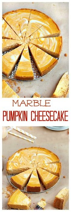 Two fall favorite desserts - pumpkin pie meets velvety cheesecake in this scrumptious marble pumpkin cheesecake. The perfect dessert for your Thanksgiving dinner party. Pumkin Cheese Cake, Pumpkin Swirl Cheesecake, Marble Cheesecake, Cheesecake Desserts, Halloween Desserts, Dessert Haloween, Fall Desserts, Thanksgiving Desserts, No Bake Desserts