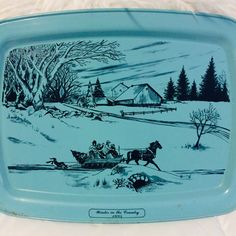 "Vtg Decorative Tin Fruit Cake Cookie Candy Mill Bridge Snow Winter 7.5/"" Round"
