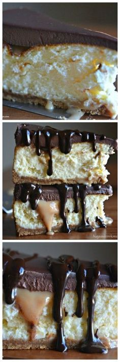 Twix cheesecake caramel slices with cookie crust Brownie Desserts, Oreo Dessert, Mini Desserts, Just Desserts, Delicious Desserts, Gourmet Desserts, Food Cakes, Cupcake Cakes, Cupcakes