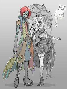 genderbend jack and sally of Nightmare Before Christmas..