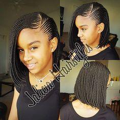 Braid Styles for Long Hair Black Girl Braids, Braids For Black Hair, Girls Braids, Ghana Braid Styles, Ghana Braids, Bob Braids, Braids Bob Style, Ghana Weaving Styles, Bob Box Braids Styles