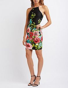 Floral Bib Neck Bodycon Dress-Charlotte Russe'