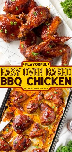 Cook up some chicken main dishes for the 4th of July with this Oven Baked BBQ Chicken! Serve up this generous assortment of wings, legs, and thighs made with simple seasonings and sauce to friends and family! Oven Baked Bbq Chicken, Oven Baked Wings, Baked Chicken Recipes, Turkey Recipes, Entree Recipes, Fish Recipes, Bbq Chicken Thighs, Main Dishes, Side Dishes