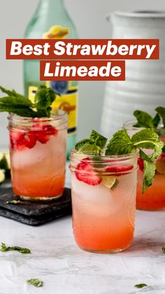 Drink Recipes Nonalcoholic, Alcohol Drink Recipes, Yummy Drinks, Cocktail Recipes, Fruity Drinks Non Alcoholic, Tropical Drink Recipes, Summer Drink Recipes, Margarita Recipes, Strawberry Limeade
