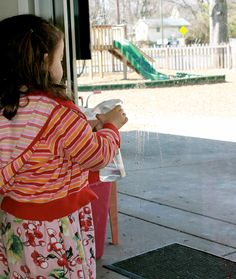 Our students take great pride in the appearance of their classroom. This student, of her own choosing, started cleaning the window on the door to the playground.