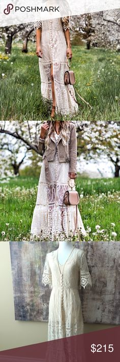 Free People Spell & the Gypsy Collective Xs dress Boho chic dress can be worn at a gypsy wedding. Gorgeous lace off white design! Size Xs Spell & The Gypsy Collective Dresses Maxi