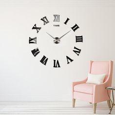 90x90cm Roman Numerals Mirror Real Home Decor Large Quartz Clocks Fashion Modern