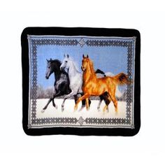 80 in. x 60 in. High Pile Horses Running Raschel Knit Throw