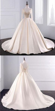 Ball Gown Wedding Dresses Long Train Beading V-neck Sexy Big Colored Bridal Gown by ainiprom, $198.50 USD Long Wedding Dresses, Wedding Gowns, Bridal Gowns, Ball Gowns, Homecoming Dresses Straps, Bride Dresses, Backless Homecoming Dresses, Prom Party Dresses, Consignment Wedding Dresses