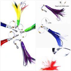 9 in Rigged Saltwater Fishing Lure Purple /& Black Spinner Head