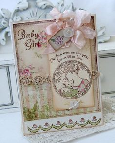 Baby Girl card by Melissa Phillips using Baby Girl Clear Art Stamps