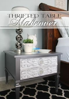Thrift Store Side Table Goes Glam with metallic silver and metal leaf