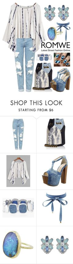 """""""Tie Dye w/ Denim"""" by thea-bleasdille ❤ liked on Polyvore featuring Topshop, Jérôme Dreyfuss, Jessica Simpson, Chico's, Charlotte Russe, Matthew Williamson, contest, denim, romwe and tiedye"""