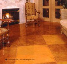 Painted Concrete Floor Looks Like Tile Yard Art