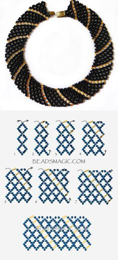 Beaded Jewelry Free pattern for necklace Katrina mm szalma - Free pattern for beaded necklace Katrina U need: seed beads bugle beads 6 mm Diy Necklace Patterns, Beaded Jewelry Patterns, Beading Patterns, Seed Bead Jewelry, Bead Jewellery, Fine Jewelry, Jewelry Making, Black Jewelry, Resin Jewelry