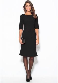 Šaty s 3/4 rukávmi a mašľou vzadu #ModinoSK Dresses For Work, Capsule, Polyester, Products, Fashion, Bow Back, Dress Work, Dress Black, Fashion Ideas