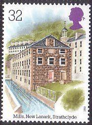 Industrial Archaeology 32p Stamp (1989) Cotton Mills, New Lanark, Strathclyde