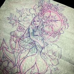 #mulpix Large thigh tattoo drawing from the other day! Hard to get a picture of a sketchy this large! Nothing more beautiful than pretty ladies from under the sea, vintage compasses and flowers! ️ #flower #mermaid #sketch #tattoosketch #tattoo #tattoos #tattooed #tattooartist #femaleartist #nature #ocean #aquatic #nautical #compass #compasstattoo #vintage #antique #pretty #pink #shells