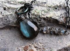 Labradorite Necklace, AAA Blue Fire faceted Gemstone Pendant, Wire Wrapped in Rustic Oxidized Sterling Silver